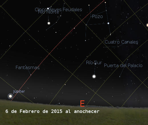 Jupiter rising in the East on February 6, 2015