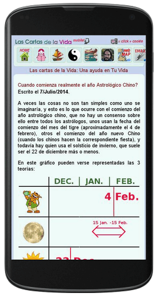 Screen of the mobile version of LasCartasDeLaVida.com